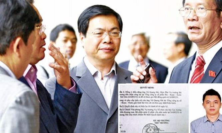 Ông Vũ Huy Hoàng (giữa) lúc còn làm Bộ trưởng (ảnh lớn) và con trai Vũ Quang Hải, cùng quyết định bổ nhiệm (ảnh nhỏ). Ảnh: Hồng Vĩnh.