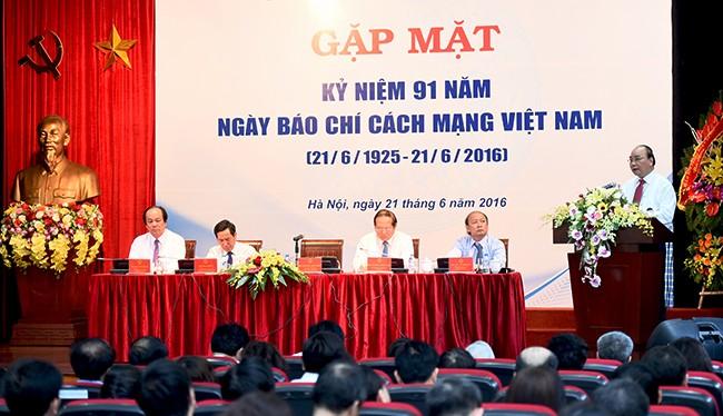 Thủ tướng Chính phủ Nguyễn Xuân Phúc đến dự buổi Gặp mặt Kỷ niệm 91 năm Ngày Báo chí Cách mạng Việt Nam (21/6/1925 - 21/6/2016).