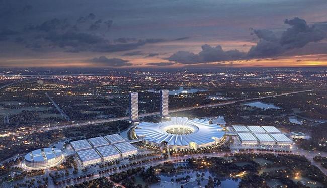 Phối cảnh kiến trúc Dự án Trung tâm Hội chợ Triển lãm Quốc gia - Quốc tế mới do Vingroup công bố.