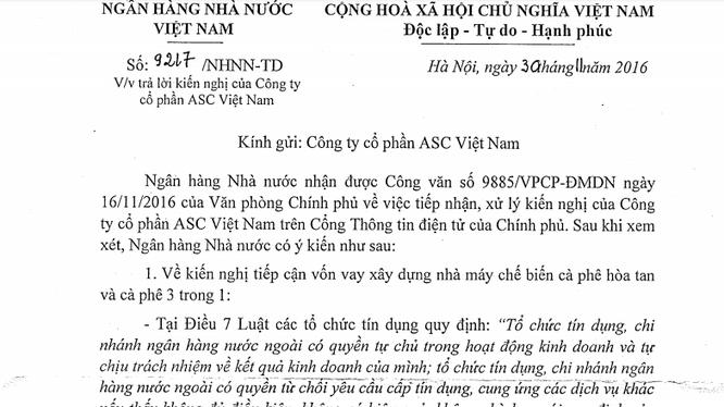 Trích công văn trả lời kiến nghị của NHNN.