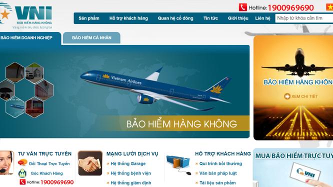 Website của VNI vẫn mang đến nhiều hình dung về Vietnam Airlines. Nhưng hãng bay này và các cổ đông sáng lập khác đã thoái vốn từ lâu. (Ảnh: chụp màn hình)