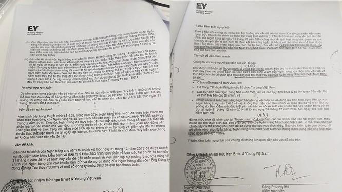 """2 báo cáo kiểm toán độc lập """"cùng ngày, cùng số, khác nội dung"""" mà luật sư Nguyễn Huy Thiệp đã nêu. (Ảnh: N.G)"""