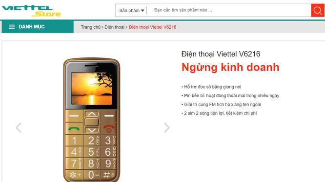 Viettel Store hiện đã thông báo ngừng kinh doanh mẫu điện thoại Viettel V6216. (Ảnh chụp màn hình viettelstore.vn)