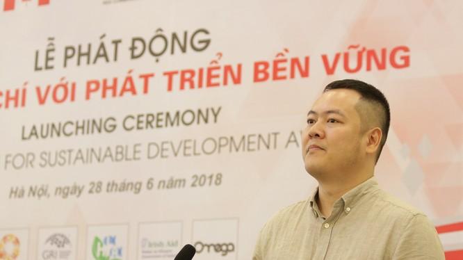 Ông Trần Nhật Minh – Viện trưởng Viện Nghiên cứu truyền thông phát triển phát biểu khai mạc lễ phát động. (Ảnh: RED)