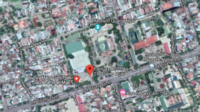 """CTCP May 28 Quảng Ngãi tọa lạc tại số 121 Lê Trung Đình, một vị trí """"vàng"""" tại trung tâm Tp. Quảng Ngãi."""