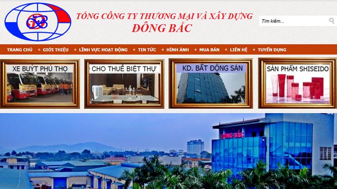 Tổng Công ty Thương mại và Xây dựng Đông Bắc là một doanh nghiệp lớn tại Thanh Hóa, thuộc sở hữu của gia đình bà Mai Thị Thắm. (Ảnh chụp màn hình website dongbacgroup.vn)