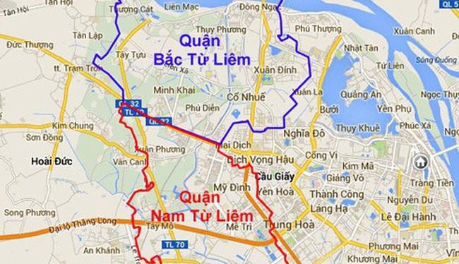 Hà Nội muốn điều chỉnh địa giới hành chính 3 quận: Cầu Giấy, Bắc Từ Liêm, Nam Từ Liêm. (Ảnh: Internet)