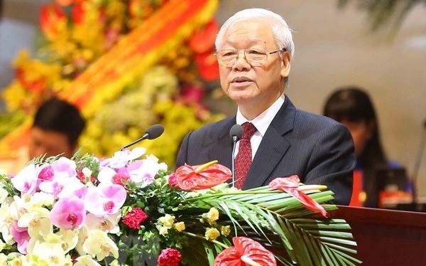 Tổng Bí thư Nguyễn Phú Trọng phát biểu chỉ đạo Đại hội. (Ảnh: TTXVN)