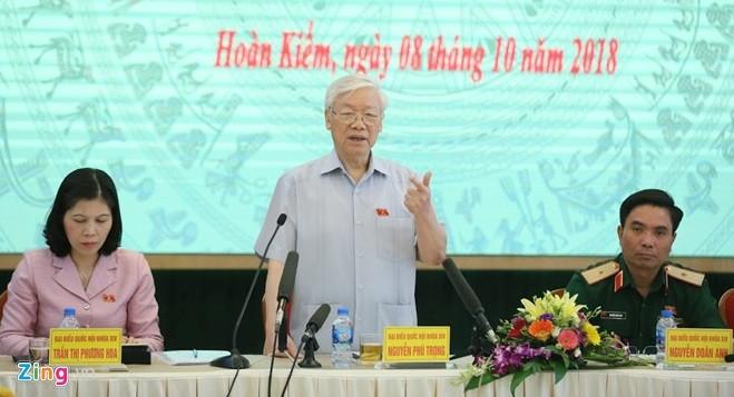 Tổng bí thư Nguyễn Phú Trọng phát biểu tại buổi tiếp xúc cử tri sáng 8/10. Ảnh: Ngọc Thắng.