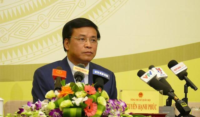 Tổng thư ký Quốc hội Nguyễn Hạnh Phúc chủ trì họp báo trước kỳ họp thứ 6 của Quốc hội.