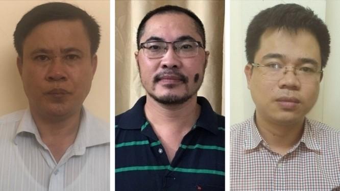 Bị can Nguyễn Xuân Thủy (trái), Khương Anh Tuấn (giữa), Hoàng Đình Tâm bị khởi tố và bắt tạm giam.