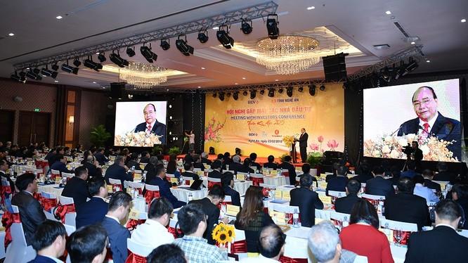 Toàn cảnh Hội nghị gặp mặt các nhà đầu tư đầu Xuân Kỷ Hợi của tỉnh Nghệ An. (Ảnh: VGP)