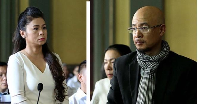 Vợ chồng ông Vũ bà Thảo tại tòa.
