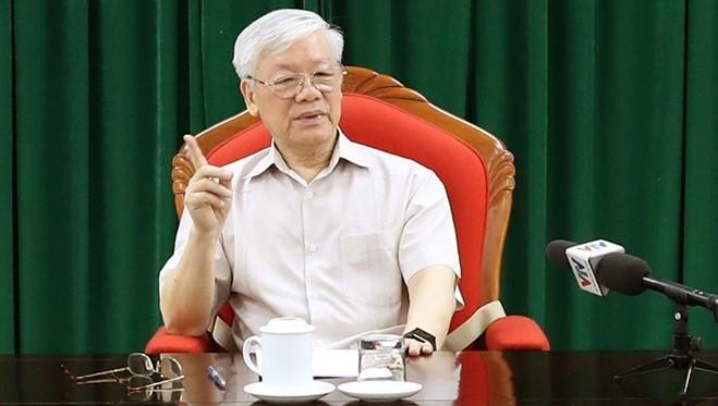 Ngày 14-5, tại Hà Nội, Tổng Bí thư, Chủ tịch nước Nguyễn Phú Trọng chủ trì họp lãnh đạo chủ chốt của Đảng và Nhà nước - Ảnh: TTXVN