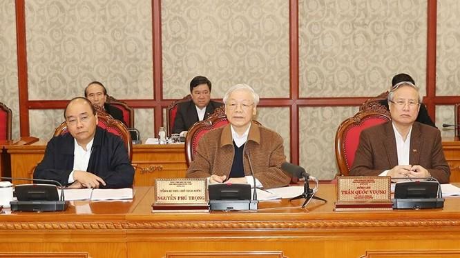 Tổng Bí thư, Chủ tịch nước Nguyễn Phú Trọng chủ trì cuộc họp của Bộ Chính trị về công tác phòng chống dịch bệnh COVID-19. - Ảnh: TTXVN