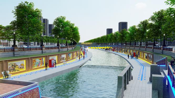 Cảnh quan hai bên bờ sông Tô Lịch tương lai (Nguồn: JVE)