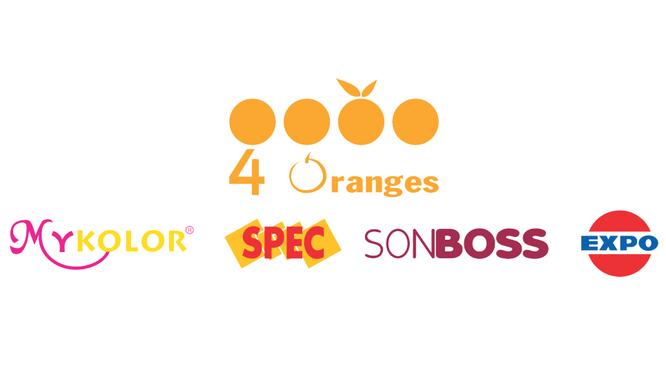 4 nhãn hiệu sơn nổi tiếng của 4 Oranges: Mykolor, Spec, Sonboss, Expo