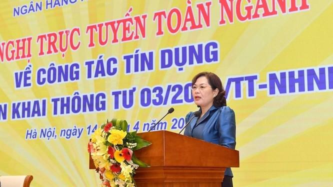 Thống đốc NHNN Nguyễn Thị Hồng phát biểu tại Hội nghị (Nguồn: NHNN)
