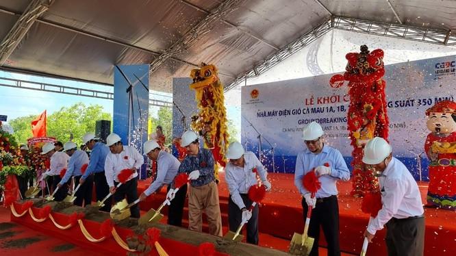 Lễ khởi công Nhà máy Điện gió Cà Mau 1A, 1B, 1C, 1D (Ảnh: Vietracimex)