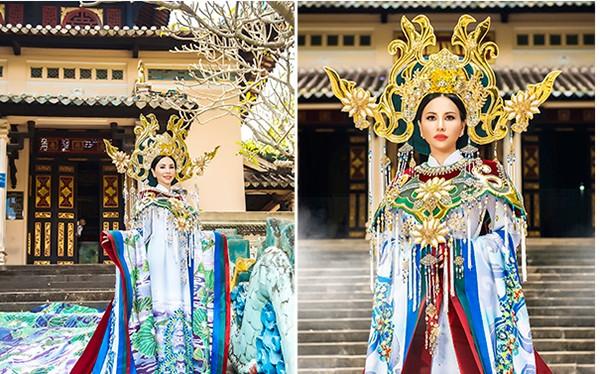 Hình ảnh đầu tiên về trang phục dân tộc của Châu Ngọc Bích tại cuộc thi Hoa hậu Quý bà Hoàn Vũ Thế giới 2018