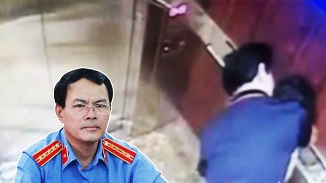 Ông Nguyễn Hữu Linh và hình ảnh hành vi sàm sỡ đối với bé gái trong thang máy.