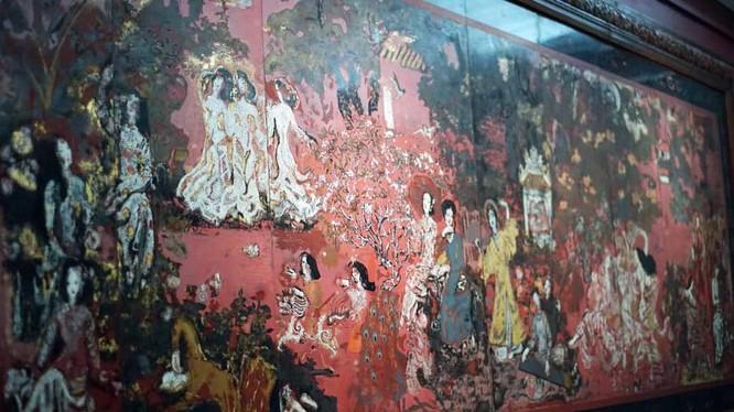 """Bức tranh bảo vật quốc gia """"Vườn xuân Trung Nam Bắc"""" của danh họa Nguyễn Gia Trí lúc còn nguyên vẹn là kiệt tác hội họa"""