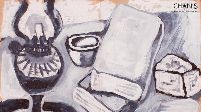 """Bức """"Đèn sách"""" của danh họa Bùi Xuân Phái trong bộ sưu tập của ông Nguyễn Văn Lâm (Lâm Cà Phê) đã bán với giá 116.650.000 VND."""