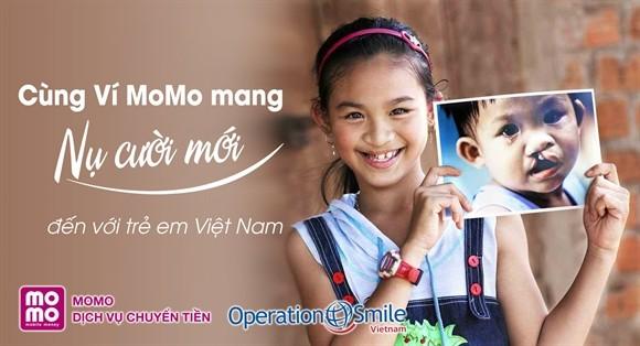 Ví điện tử MoMo đã quyên góp hàng tỉ đồng hỗ trợ phẫu thuật cho trẻ em nghèo bị hở hàm ếch (Ảnh: Operation Smile)