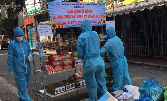 Gian hàng 0 đồng quận Tân Phú với đầy đủ nhu yếu phẩm - Ảnh: UBND phường Tân Quý cung cấp