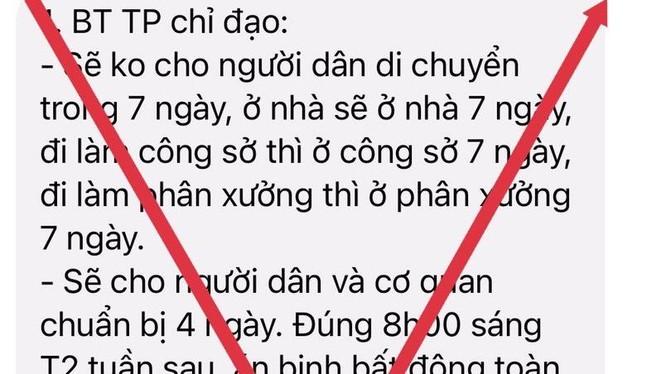 """TP.HCM khẳng định người dân cẩnh thận với tin giả """"không cho người dân di chuyển trong 7 ngày"""". Ảnh chụp màn hình"""