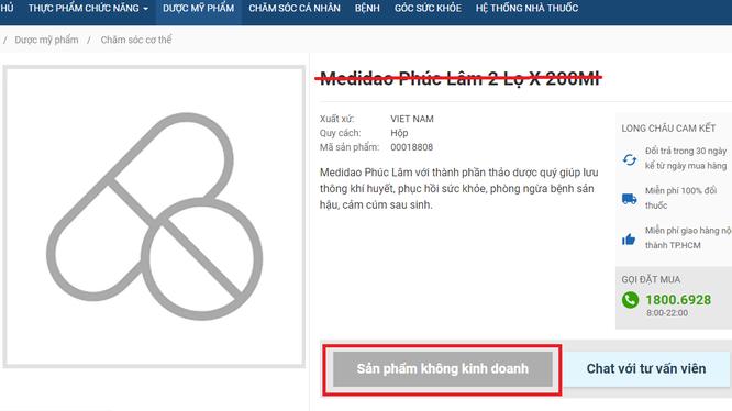 Một trang web đã ngừng kinh doanh và gỡ ảnh sản phẩm Medidao sau khi có thông báo thu hồi