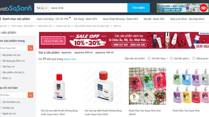 Sản phẩm Aquavera được bày bán trên trang thương mại điện tử.