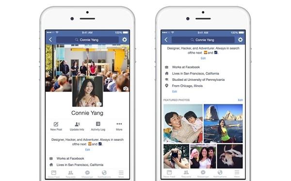 Điểm mới trong giao diện mới được Facebook cập nhật đầu năm 2016.