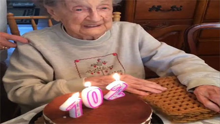 Video: Cụ bà 102 tuổi thổi nến mừng sinh nhật bay cả hàm răng giả
