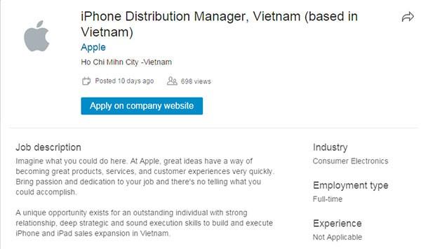 Apple đăng tin tuyển Giám đốc phân phối iPhone tại Việt Nam