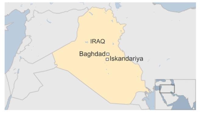 Iskandariya ở rất gần thủ đô Baghdad. Đồ họa: BBC