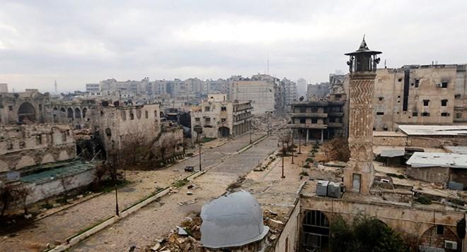 Cảnh hoang tàn ở thành phố Aleppo. (Nguồn: Reuters)