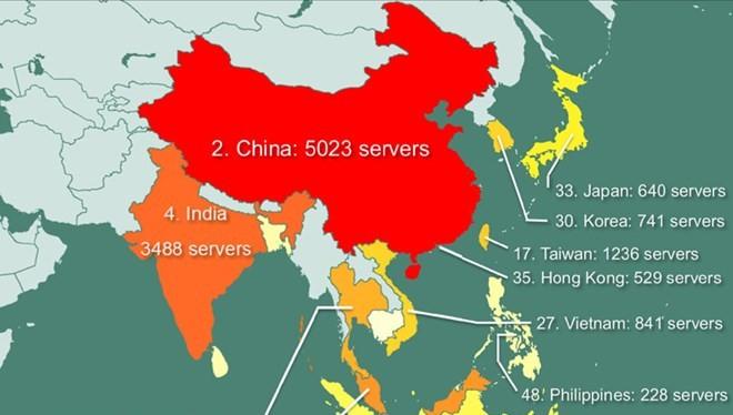 Bản đồ các quốc gia bị hacker rao bán quyền truy cập máy chủ.