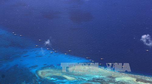 Tàu đánh cá Trung Quốc neo đậu tại bãi đá ngầm Chữ Thập thuộc quần đảo Trường Sa của Việt Nam. Ảnh: AFP/TTXVN