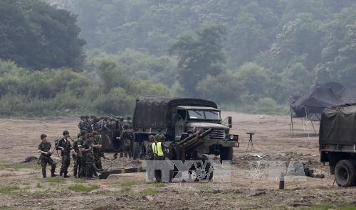 Binh sỹ Hàn Quốc tham gia cuộc tập trận gần Khu vực phi quân sự (DMZ) ở Paju, tỉnh Gyeonggi (Hàn Quốc) ngày 22/6. Ảnh: EPA/TTXVN