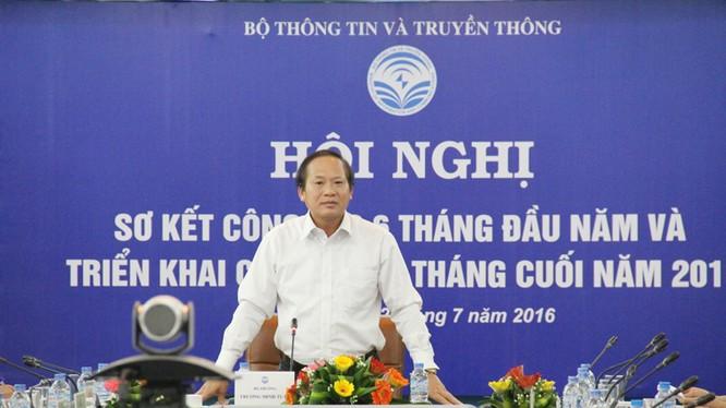 Ủy viên Trung ương Đảng, Bộ trưởng Bộ TT&TT Trương Minh Tuấn phát biểu chỉ đạo Hội nghị