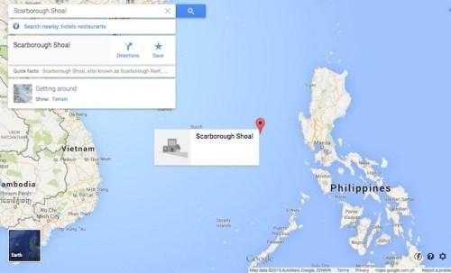 Bãi cạn Scarborough hiển thị trên Google Maps.
