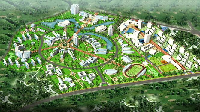 Mô hình quy hoạch Khu công nghệ cao Hòa Lạc.