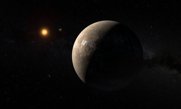 Bản phác họa hành tinh Proxima b quay xung quanh Cận tinh Proxima Centauri.