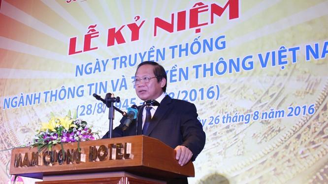 Bộ trưởng Bộ TT&TT Trương Minh Tuấn phát biểu tại Lễ kỷ niệm