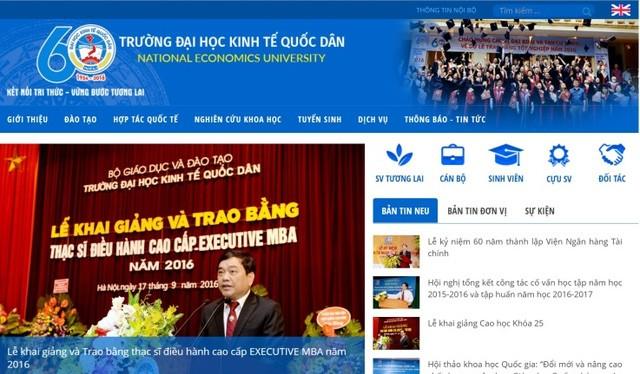 Giao diện cổng thông tin điện tử mới của ĐH Kinh tế quốc dân.