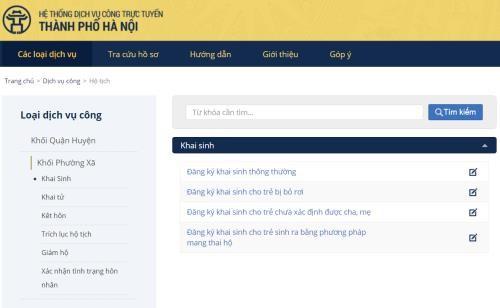 Giao diện trang web đăng ký khai sinh trực tuyến.