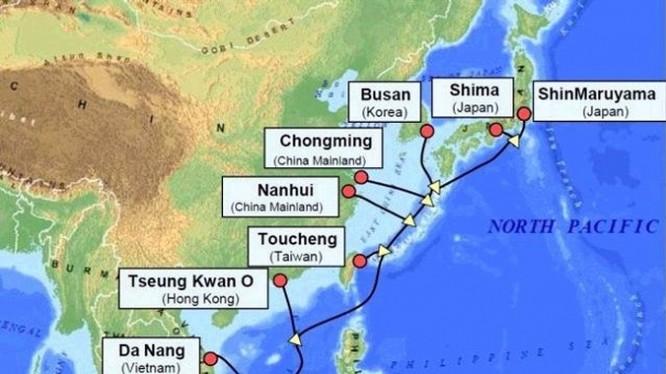 Tuyến cáp quang biển châu Á – Thái Bình Dương APG (Asia Pacific Gateway, chiều dài hơn 11.000km, nối từ Việt Nam đi các nước châu Á và Mỹ.