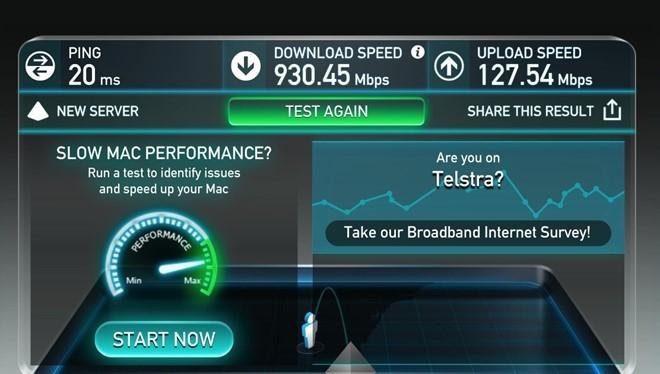 Tốc độ thử nghiệm mạng LTE mới của nhà mạng Telstra. Ảnh:Android Central.
