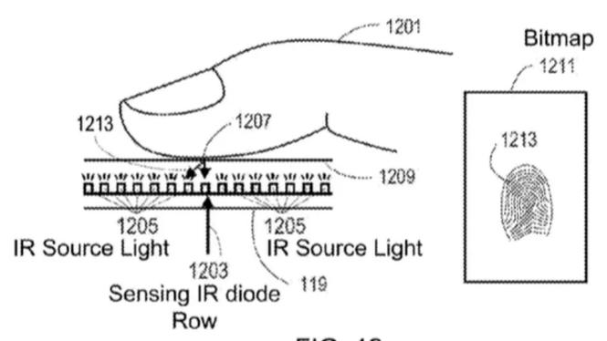 Theo sáng chế này, điện thoại thông minh của Apple đọc dấu vân tay trực tiếp trên màn hình.